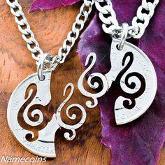 Interlocking Treble Clef Necklace set, Music jewelry, hand cut coin