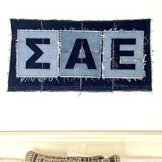 Sigma Alpha Epsilon banner upcycled from denim jeans
