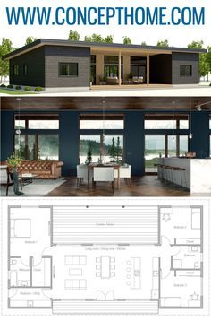 Small House Plans, Home Plans, Architecture, Small Modern House Plans, Small House Plans, House Floor Plans, Modern Bungalow House Plans, Bungalow Floor Plans, Modern Small House Design, Modern Floor Plans, Casas Containers, Bungalow House Design