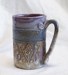 ceramic heart mug 16oz stoneware 16C013 by desertNOVA on Etsy