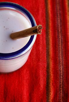 Horchata - rice drink from Mexico. Delicious on a hot day, or any day.
