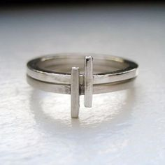 Modern geometric silver stack rings artisan by metalicious on Etsy, $52.00