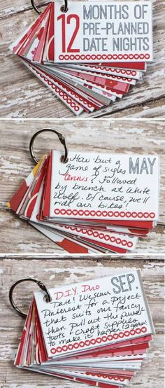 12 months of preplanned dates! I love this idea! :) cheap entertainment, cheap dates, save money eating out