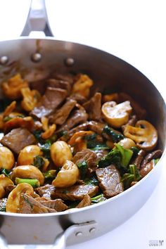 Gimme Some Oven Ginger Beef, Mushroom & Kale Stir-Fry Kale Recipes, Stir Fry Recipes, Meat Recipes, Asian Recipes, Dinner Recipes, Cooking Recipes, Healthy Recipes, Paleo Dinner, Mushroom Recipes