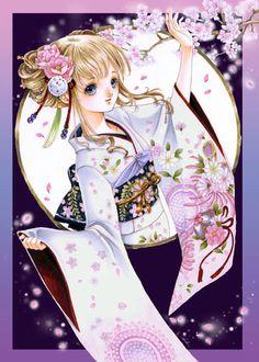 Princess with blond hair, blue eyes, white kimono, & pink flowers by manga artist Shiitake. (Amaya of the Plum Blossom) Manga Anime, Anime Hair, Anime Chibi, Kawaii Anime Girl, Anime Art Girl, Anime Girls, Samurai, Photo Manga, Anime Princess