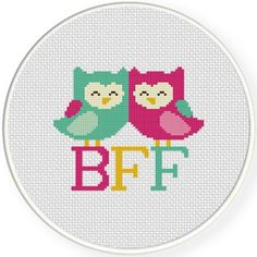Design by Daily Cross Stitch Stitched by ME!  What a great gift to give your best friend!  Will be stitched on 14ct white aida fabric  Professional stitchers charge .01 cen... #craftshout #etsyseller #crossstitch #etsyshop #etsychaching #bff #owls