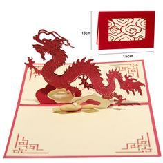1PCS Party Decorations 3D Chinese Dragon Birthday Greeting Cards Pop Up Paper Crafts Postcard Wedding Invitation Card