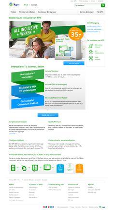 """Landingspagina voor de ATL-campagne van de """"All Inclusiveweken"""" van KPN op KPN.com.  Zelfstandig ontworpen op basis van de materialen beschikbaar vanuit het reclamebureau. De pijlen zorgen voor een duidelijke richting en eindigen in de CTA, die ook boven-target verkeer richting de shop stuurt. #webdesign"""
