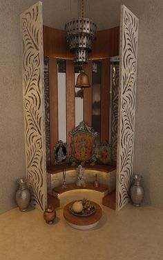 Pooja Mandir Design Ideas, Pooja Mandir Designs for Home, Cabinet Designs Temple Design For Home, Home Design, Home Interior Design, Design Ideas, Flat Design, Interior Ideas, Temple Room, Home Temple, Door Design Photos