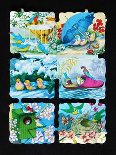 Die-cuts scraps of colorful pretty birds. Vintage Games, Vintage Toys, Decoupage Paper, Decoupage Ideas, Christmas Decals, Die Cut Paper, Pretty Birds, Die Cutting, Scrap