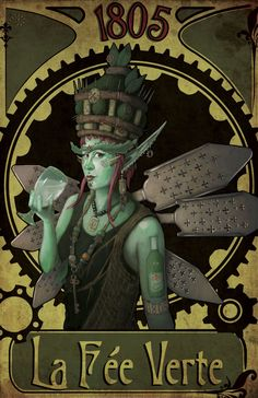 La Fée Verte Steampunk by Josef Arsenault, http://jfarsenault.deviantart.com/ | Absinthe, popular in fin de siècle Paris, seems very appropriate for steampunk, even without the explicit references in this piece