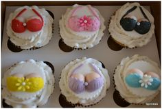 Cleavage cupcakes with colourful underwear