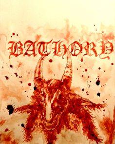 """A Tribute to Bathory"" (a black metal band) - human blood art by Maxime Taccardi"