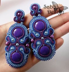 Big blue soutache earrings vintage handmade by SaboDesign on Etsy.