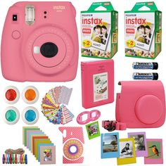 Fujifilm Instax Mini 9 Instant Camera Flamingo Pink Fuji Instax Film Twin Pack Pink Camera Case Frames Photo Album 4 Color Filters And More Top Accessories Bundle -- Check out this great article. Polaroid Instax Mini, Poloroid Camera, Instax Mini Film, Instax Camera, Fujifilm Instax Mini 8, Fuji Instax, Fujifilm Instant Camera, Instant Film Camera, Pink Camera