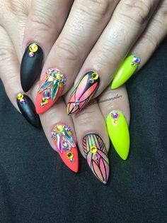 Nail art from the NAILS Magazine Nail Art Gallery, gel, Neon Nail Art, Neon Nails, Nail Art Galleries, Color Shapes, Nails Magazine, Shape Design, Summer Of Love, Claws, Art Gallery