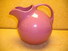 VINTAGE HALL ART POTTERY TILT BALL PITCHER MAUVE COLOR WITH ICE LIP
