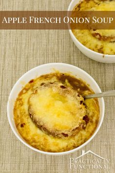 Apples and apple cider give a classic French onion soup recipe the perfect fall twist. This soup is sweeter than regular French onion soup, but it's still thick, hearty, delicious, and perfect for fall!