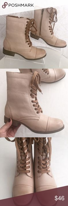 Pale tan (almost blush) MIA lace-up combat boots Description to follow Mia Shoes Combat & Moto Boots
