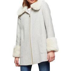 Miss Selfridge Swing Duffle Coat ($93) ❤ liked on Polyvore featuring outerwear, coats, grey, faux fur trim coat, grey coat, long sleeve coat, pattern coat and short coat