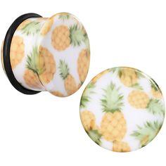 "5/8"" White Acrylic Pineapple Single Flare Plug Set | Body Candy Body Jewelry"