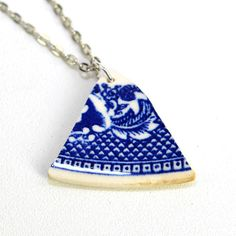 #Upcycled #Vintage #Pottery #Necklace  #Blue #Willow Pattern by Allerton's, circa 1900 - #Antique #Repurposed #Gift by OneRustyNail on #Etsy