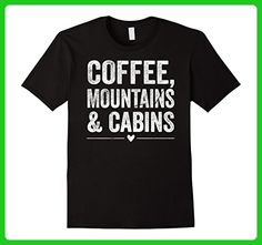 Mens Coffee, Mountains And Cabins Shirt Large Black - Food and drink shirts (*Amazon Partner-Link)
