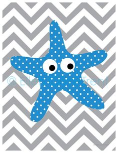 Kids Wall Art- Chevron Starfish print