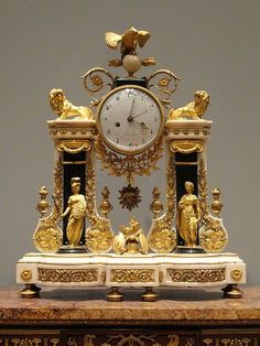 Portico Clock,  1780-1790, French, gold