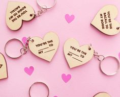 Custom personalized keychain set - perfect for Valentine's Day, Galentine's Day, or Mother's Day Bogie And Bacall, Laser Cut Wood, All Design, Just In Case, Dog Tag Necklace, Valentines Day, Handmade Items, Personalized Items, Bffs