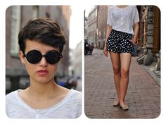 perfect for hot weather. cool short hair, sheer T and loose, chic dotted shorts.