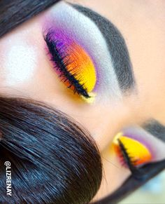 Sunset colorful eyeshadow makeup using sugarpill eyeshadows in flamepoint, buttercake, home sweet home & poison plum