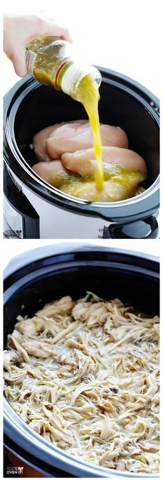 Slow Cooker Salsa Verde Chicken full of great flavor super easy and perfect for tacos quesadillas salads or anything your little heart desires) sub water out broth for beer Click the image for more info. Slow Cooker Salsa, Crock Pot Slow Cooker, Crock Pot Cooking, Slow Cooker Recipes, Cooking Recipes, Slow Cooker Enchiladas, Crock Pots, Salsa Verde Chicken Recipe, Chicken Verde