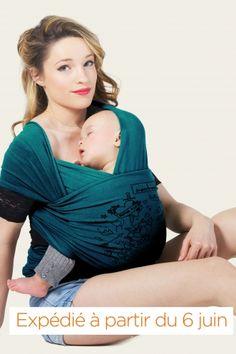 Echarpe de portage BASIC - Tattoo - Bleu Retro | JPMBB ® | Echarpe porte bébé