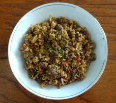 healthy dirty rice with vegan, vegetarian, and paleo options