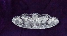 Vintage Glass Oval Dish  American Brilliant Period  by Pastfinds, $65.00