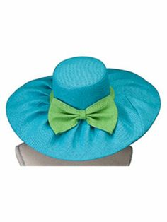 Turquoise and Lime Wide Brim Floppy Sun Hat #HAT-TQLM | eWAM