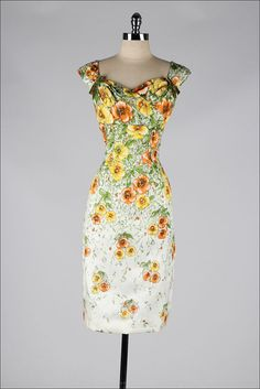 1950's Floral Silk with velvet Bows Dress
