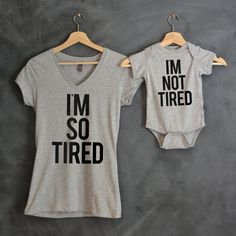 I'm So Tired + I'm Not Tired T-shirt Package, Mom V-Neck T-shirt, Baby Bodysuit, Baby shower gift, Mothers day gift, Mama Bear, Baby Bear