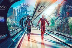Retro sci-fi of futuristic planetary terraforming royalty-free stock photo