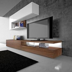 Conjunto de mueble de salón en madera con estantería en blanco Modern Tv Room, Modern Tv Wall Units, Living Room Modern, Living Room Designs, Tv Unit Furniture Design, Built In Furniture, Tv Unit Decor, Tv Wall Decor, Condo Living