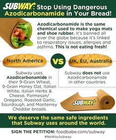 Subway: Stop Using Dangerous Chemicals In Your Bread dough conditioner and yoga mat materials in my sandwiches no thanks haven't eaten Subway in well over a year won't ever return. In the words of Sean Croxton JERF just eat real food