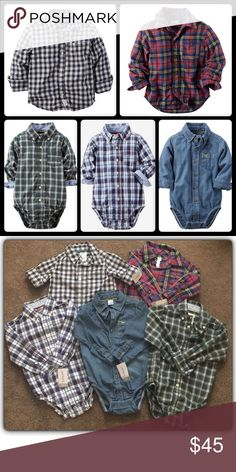 Lot 5: Casual Long Sleeves Shirts and Bodysuits NWT.. My Son was able to wear the green one once and the rest still have tags on them and he won't be able to get to wear them this fall/winter. I'm very sad bc his growth is ahead and I was a shopaholic before his arrival. 😔 Price is for all by Carter's & Size 18M. ✨FINAL PRICE, WILL DISCOUNT IF BUNDLE Carter's Shirts & Tops Button Down Shirts