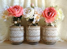 burlap and lace covered 3 mason jar vases wedding decoration, bridal shower, engagement, anniversary party décor Wedding Table Centerpieces, Wedding Centerpieces, Wedding Decorations, Decor Wedding, Vase Decorations, Burlap Centerpieces, Peonies Centerpiece, Vintage Centerpieces, Table Wedding