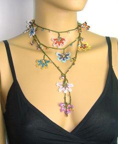 Multi-color WHEEL of FORTUNE motif Crochet beaded OYA Flower lariat necklace