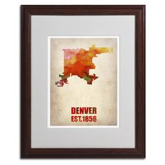 Denver Watercolor Map by Naxart Matted Framed Painting Print