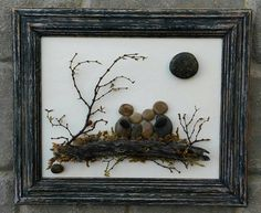 "Pebble Art / Rock Art Family of Four, Family gift, unique gift, custom, framed pebble art, 8.5x11 ""open"" frame (FREE SHIPPING)"