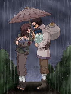 Shibi and Tsume under the rain by Ti-Vennie