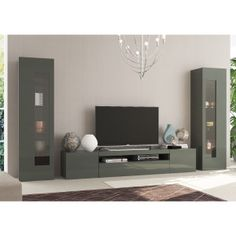 Aquila, modern TV cabinet and display units combination in anthracite gloss finish, optional lights-dimensions shown Wooden Cabinets, Tv Cabinets, Modern Tv Cabinet, Wood Desk, Living Room Designs, Tvs, The Unit, Lights, Wall