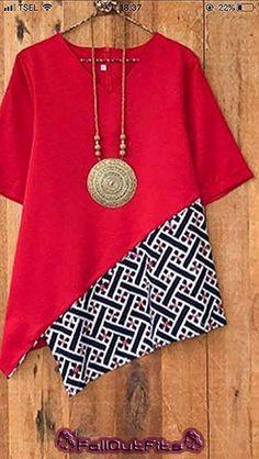 Contrasting colour looks good. Batik Fashion, Fashion Sewing, Diy Fashion, Fashion Outfits, Fashion Fall, Retro Fashion, Trendy Fashion, Fall Outfits, Blouse Batik